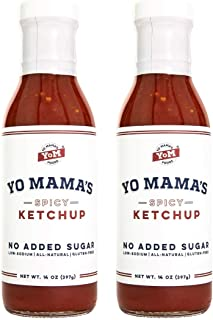 Keto Spicy Ketchup by Yo Mama's Foods – Pack of (2) - No Sugar Added, Low Carb, Vegan, Gluten Free, Paleo F...