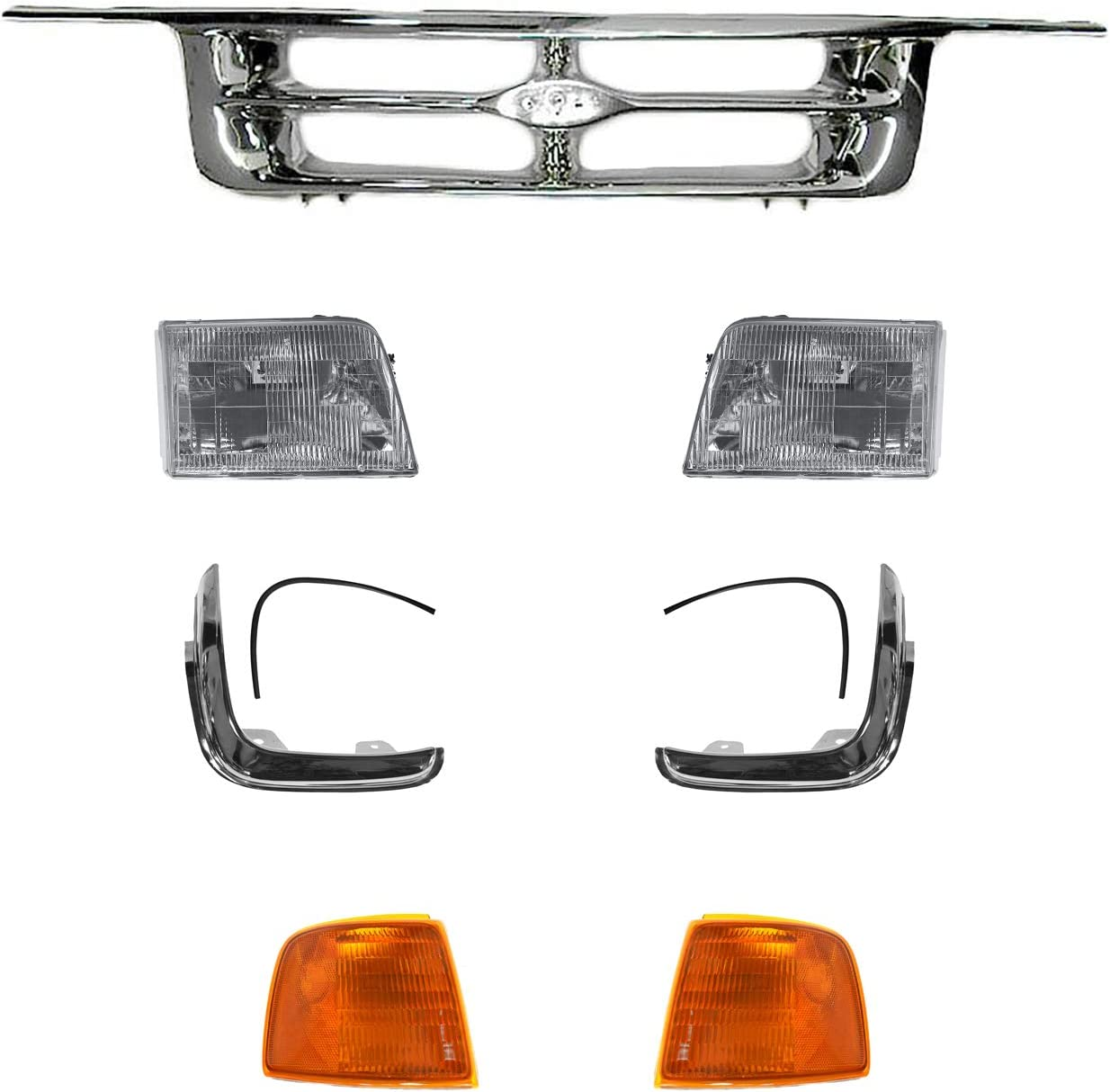1A Auto All Chrome Grille Headlight Popular brand Parking for Soldering Light Set Trim