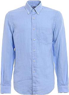 ラグジュアリーファッション | Aspesi メンズ CE14C19585070 ライトブルー リネン シャツ | 春夏20