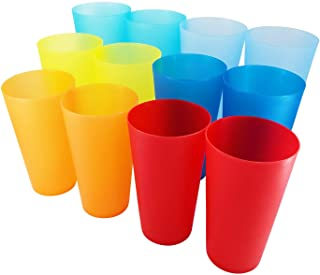 32-ounce Plastic Tumblers Reusable BPA Free Dishwasher Safe Restaurant-Quality Glasses Set of 12 in Multi-Colors Indoor Ou...