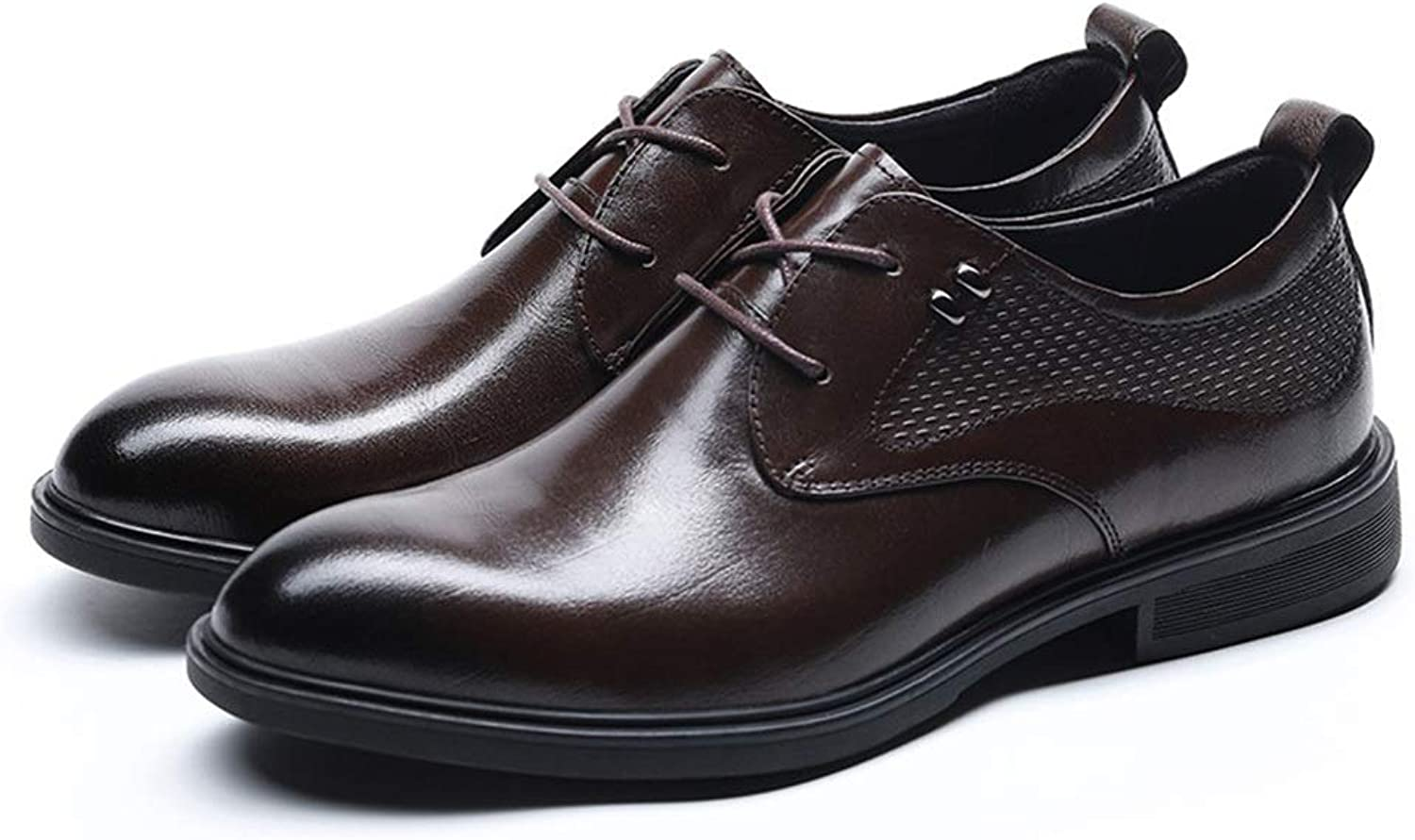 First Layer Leather Men's shoes Men's Leather shoes Retro Style Business Leather shoes (color   Coffee, Size   43)