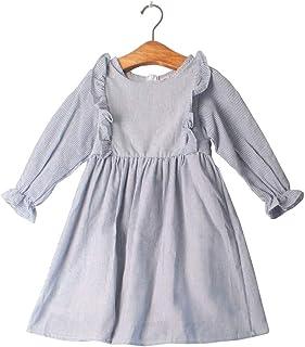 Vestido largo a rayas para niños y niñas, para otoño, primavera, casual, media pantorrilla, fiesta, de algodón, para niños