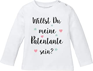 Ezyshirt Willst du Meine Patentante Sein | Strampler Patenschaft | Patenkind T-Shirt Langarm Baby Bio Baumwolle