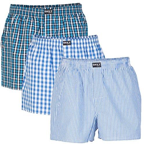 DA!LY Underwear - Boxer da uomo, a quadretti, S, M, L, XL, 2XL, 3XL, 4XL, 5XL, 100% cotone, confezione da 3 pezzi Combinazione di colori 99/3. XXL