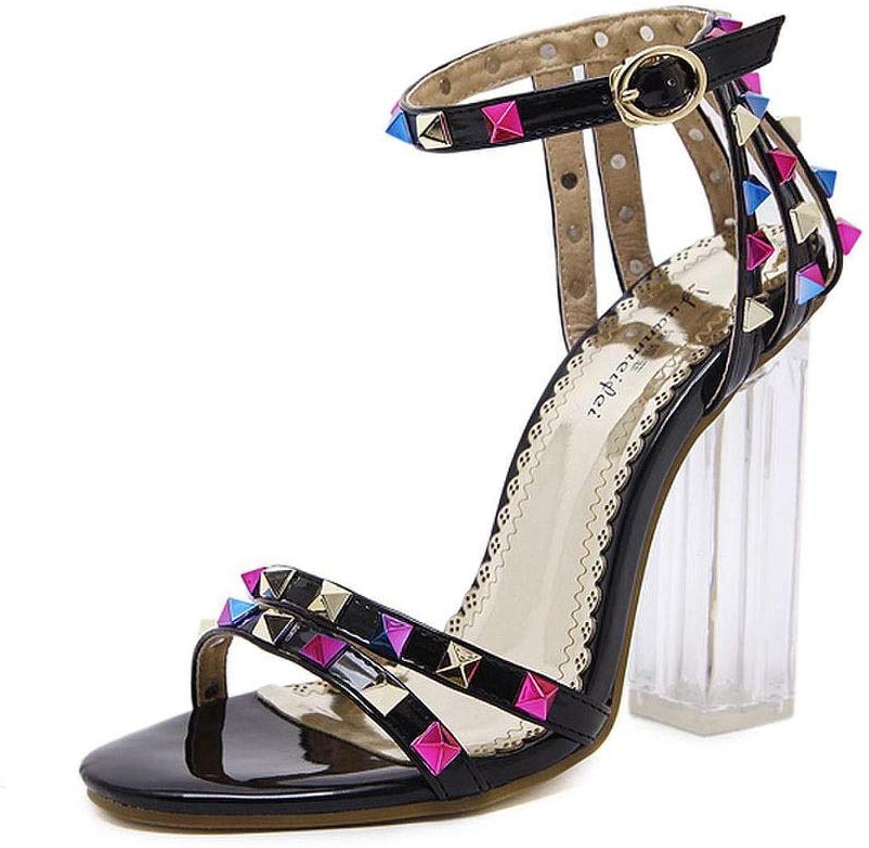FELICIGG Damen Sandalen Sommer Nieten Nieten Nieten transparente offene Zehen Dicke High Heels (Farbe   schwarz, Größe   37)  99553b
