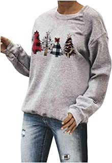 QIQIU Christmas Tops Womens Xmas Trees Print O-Neck Pullover Solid Casual Party Daily Long Sleeve Blouses Sweatshirt