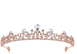 Lovelyshop Royal Crystal Princess Wedding Alloy Tiara Headpiece-Rose Gold