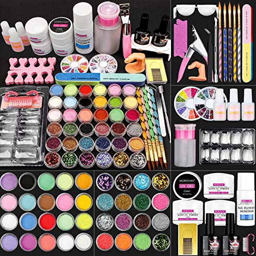 Morovan Acrylic Nail Kit Liquid Monomer - Glitter Powder with Carving Powder Set,Complete Practice Hand Acrylic Nails With Everything,French Nail Tips,Professional Acrylic Nail Brush Kit for Beginners