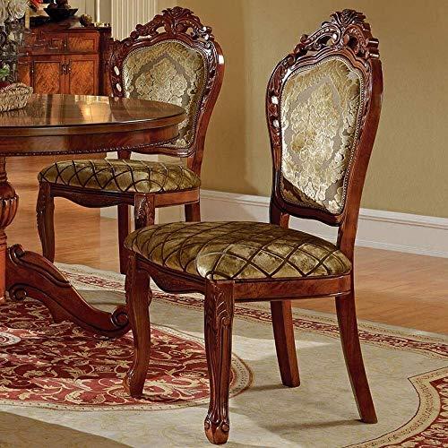 ZWWZ Silla de Comedor sillas de Comedor de Cocina Contador Europeo Silla de Comedor Americano sillón sólido Silla de Roble sillón Mahjong Silla Tela fácil de Montar MISU