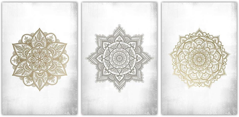 SUMGAR gold Bohemian Mandala Artwork Abstract Canvas Wall Art for Living Room Ready to Hang,16 x24 x3pcs