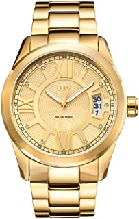JBW Bond Men's 9 Diamonds Gold Dial Gold-Plated Stainless Steel Band Watch