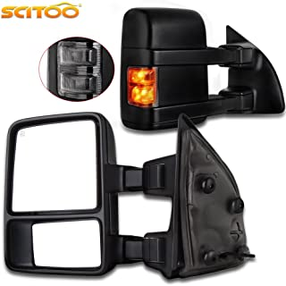 Towing Telescoping Folding Black Textured Tow Mirrors Power Heated with Smoke Signal and Dual Glass for 08-14 Ford F250 F350 F450 F550 Super Duty Left&right Passenger&driver Side View Mirror Pair Set