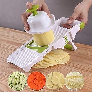 Mandoline slicer,mini food processor, Potato cutter shred and spiral cutter 5 stainless steel blade vegetable peeler slicer for fruit tomato onion (green)