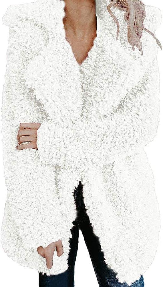 iQKA Women Winter Warm Coat Fuzzy Faux Fur Shearling Lapel Collar Jacket Outerwear