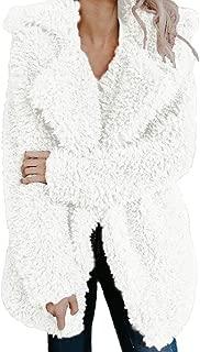 Women Winter Warm Coat Fuzzy Faux Fur Shearling Lapel Collar Jacket Outerwear