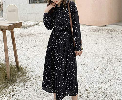 TSP Vestido de mujer con cuello de lazo y lunares de manga completa, cintura elástica de gasa plisada para mujer 2021 otoño midi vestidos femeninos (color: negro, tamaño: L)