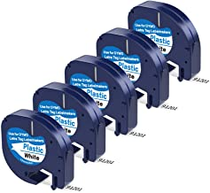 5 Pack Replace Dymo Letratag Refills Plastic Dymo 12mm x 4m Label Tape 91331 (S0721660), Black on White Compatible DYMO Label Maker LetraTag LT-100H, LT-100T, LT-110T, QX50, 1/2 Inch x 13 Feet