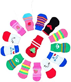 LifeWheel Pet Cat Dog Paw Protection Traction Control Indoor Anti-Slip Knit Cotton Socks 2 or 5 Sets (Random Color)