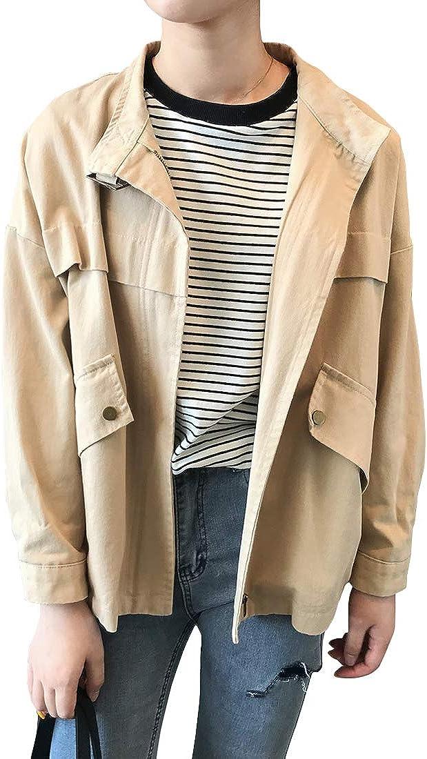 utcoco Women's Casual Boyfriend Stand Zip-up Cotton service OFFicial site Twill Collar