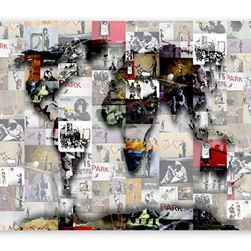 murando Papier peint intissé 400x280 cm Décoration Murale XXL Poster Tableaux Muraux Tapisserie Photo Trompe l'oeil Carte du Monde Banksy Abstraction Continent Monde Graffiti k-C-0055-a-b
