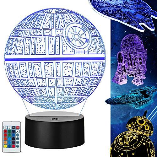 Star Wars Lampe 3D Illusion Veilleuse, 5 Pièces 3d Lampe avec Câble de Charge et 4 Mode flash 16 Couleurs Changeantes, Cadeaux Parfaits pour les Enfants et les Fans de Star Wars