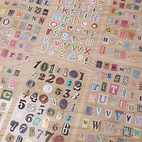 PMSMT 6 unids/Lote Retro Diario inglés alfanumérico Dorado Pegatina dedecoración del teléfono Pegatina de Personalidad