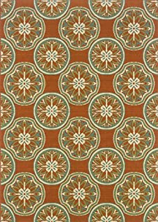 """Moretti Wordhaven Area Rug 8323D Rust Circles Flowers 6' 7"""" x 9' 6"""" Rectangle"""