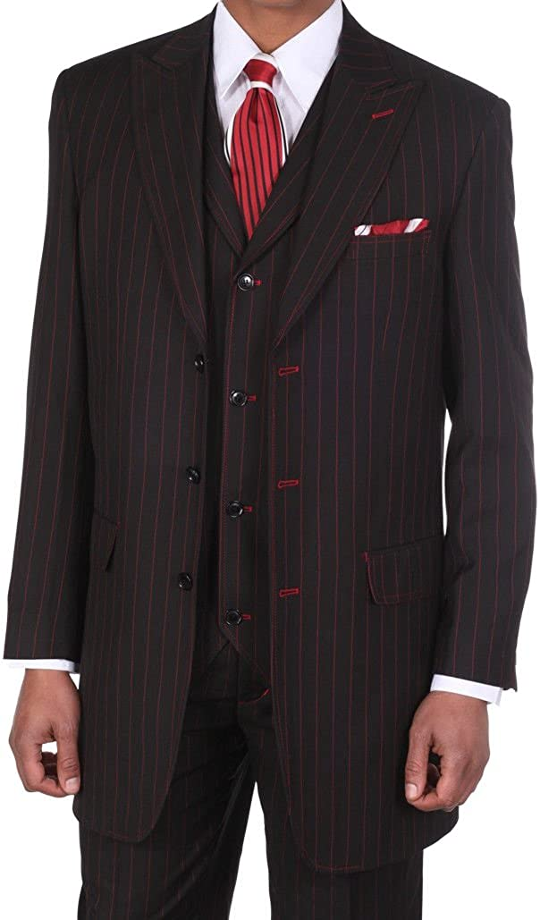 Fortino Landi Men's 3 Piece Gangster Pin-Striped 3 Button Suit w/Vest 5903