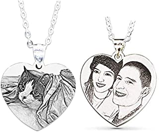 Personalized Custom Photo Necklace Pendant 925 Sterling Silver Chain Customized Picture Necklace Gift for Women/Girls/Boys/Lover