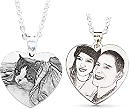 Wisdoy Personalized Custom Photo Necklace Pendant 925 Sterling Silver Chain Customized Picture Necklace Gift for Women/Girls/Boys/Lover