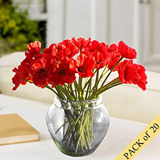 HO2NLE 20pcs Realistic PU Artificial Poppies Flowers Fake Wedding Bouquet Arrangements for Home Kitchen Living Room Dining Table Centerpieces Decorations Red