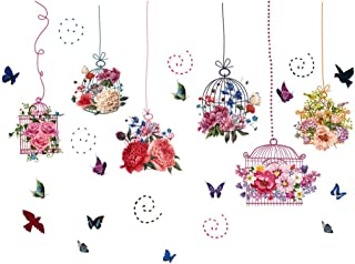 Vosarea Wall Sticker Removable Flowers Birdcage Butterfly Cupboard Decals Windbell Decoration for Living Room Bedroom DIY ...