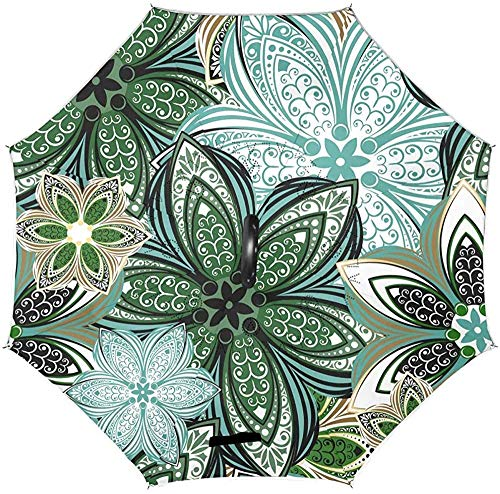 Flower Mandala Floral Reverse Umbrella Umgekehrte Regenschirme Windproof Anti-UV Straight Umbrella