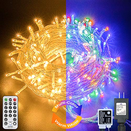Decute Colors Changing Christmas Lights Outdoor Indoor 11 Modes Extendable, 99FT 300LED Christmas String Lights Warm White & Multicolor Changing Waterproof Tree Light with Timer Remote