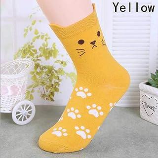 ZHANGNUO, Moda Candy Color Cute Cat Mujeres Chica Calcetines De Algodón Tubo Harajuku Divertido Casual Novedad Arte Vintage Blanco Amarillo