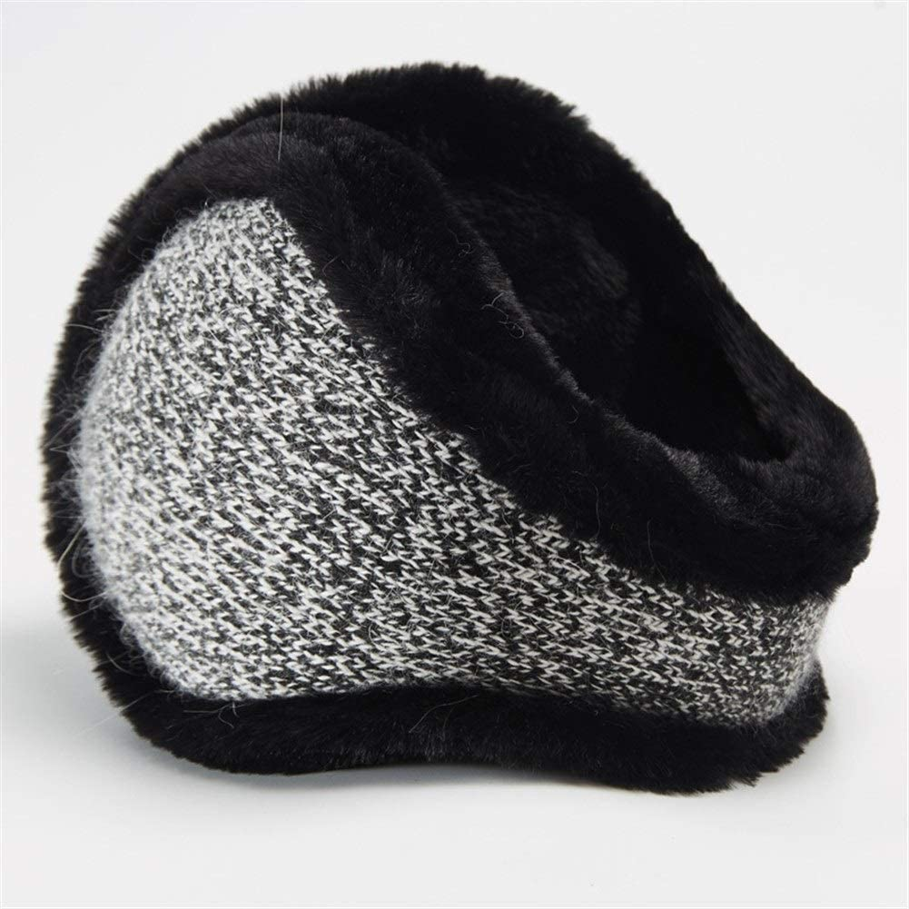 ZYXLN-Earmuffs,Warm Earmuffs Girls Winter Earmuffs Winter Knitted Earmuffs Antifreeze Collapsible Ear Warmer Lovely Fluffy Earmuffs Behind The Head Earmuffs (Color : Black)