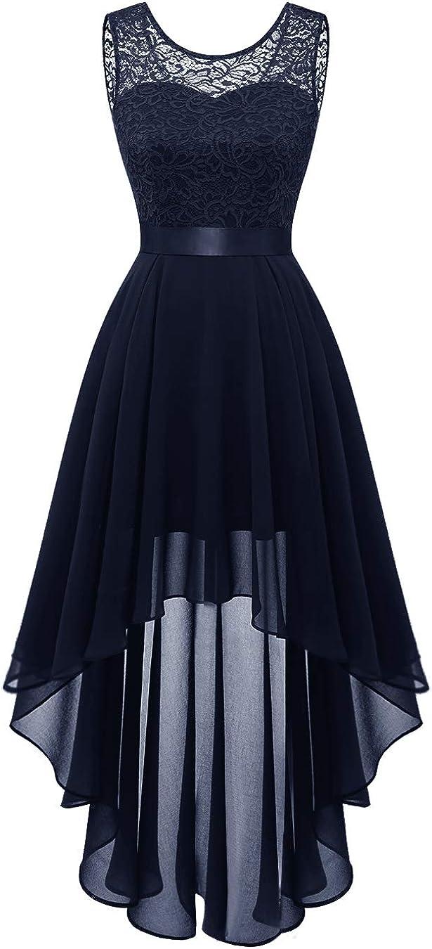 BeryLove Genuine Women's Max 79% OFF Floral Lace Chiffon Hi-Lo Dress Bridesmaid Swin