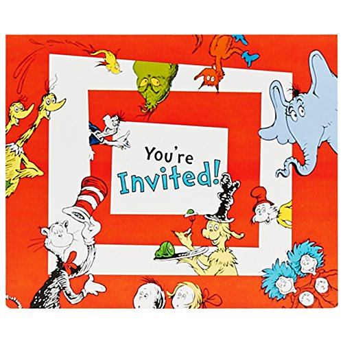Birthday Express Dr Seuss Party Supplies - Invitations (8)