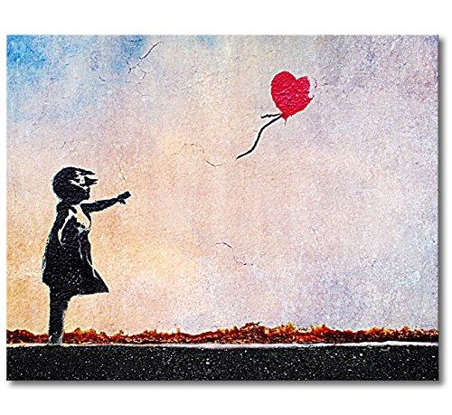 WandbilderXXL® Gedrucktes Leinwandbild Banksy No.14 100x80x2cm - in 6 verschiedenen Größen. Fertig gespannt auf Holzkeilrahmen. Günstige Leinwanddrucke für Wohnzimmer, Schlafzimmer.