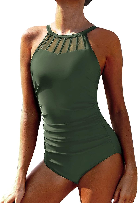 Holipick Women One Piece Swimsuit Halter Control mart Neck Tummy High Max 87% OFF