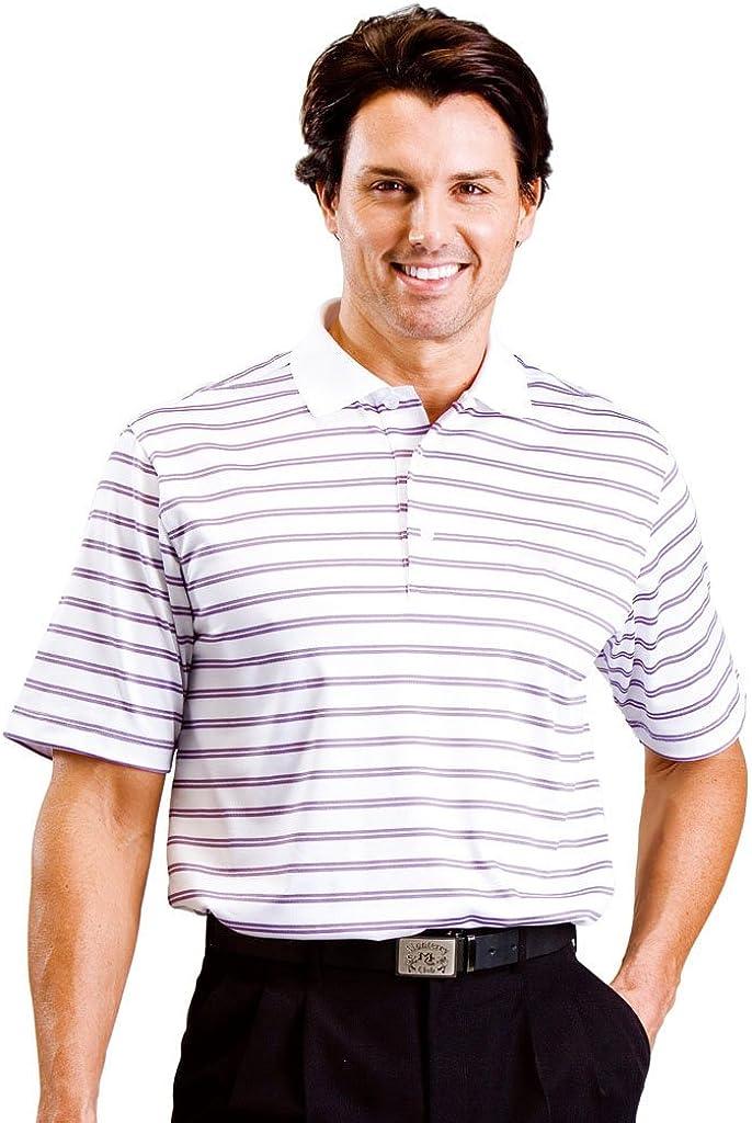 Monterey Club Men's Hermosa Double Stripe Texture Polo Shirt #1627