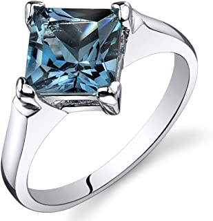 London Blue Topaz Engagement Ring Sterling Silver Rhodium Nickel Finish 2.00 Carats Sizes 5 to 9