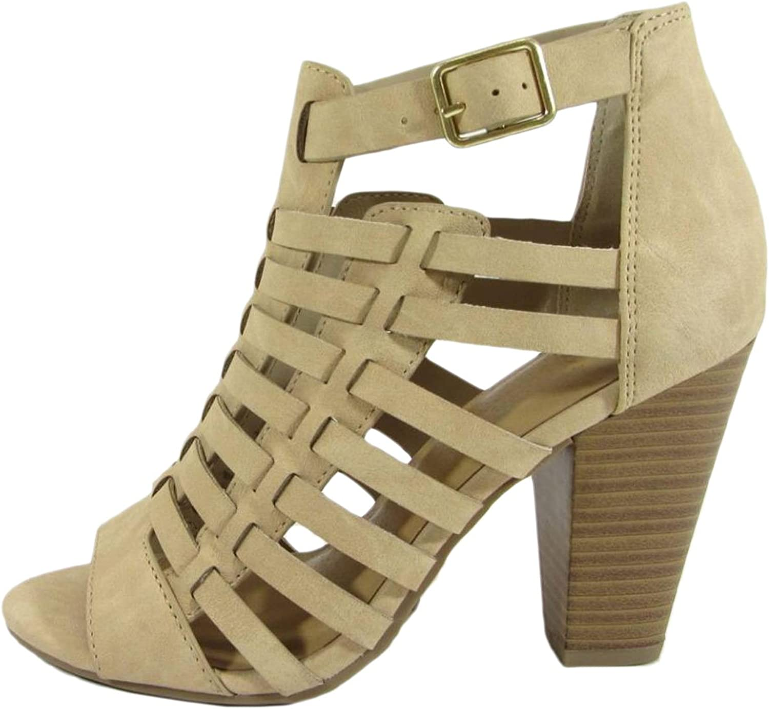 Delicious Women's Cutout Caged Buckle Stacked Chunky Heel Bootie