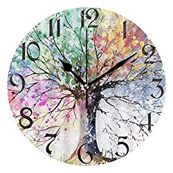 Pfrewn Tree of Life Wall Clock Silent Non Ticking Colorful Flowers Clocks Battery Operated Vintage Desk Clock 10 Inch Quartz Analog Quiet Bedroom Living Room Home Decor