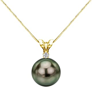 14K Gold or Sterling Silver 1/20cttw Diamond (G-H, SI1-SI2) Necklace Chain Tahitian Cultured Pearl Pendant Jewelry AAA- Choice of Gold Color