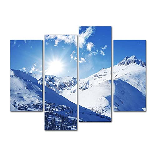 Wall Art Decor Poster Painting On Canvas Print Pictures 4 Pieces Sunny Winter Rocky Mountains Landscape In Colorado United States Landscape Jokul Framed Picture For Home Decoration Living Room Artwork