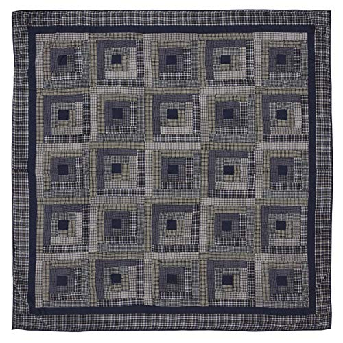 VHC Brands Rustic Columbus Cotton Pre-Washed Patchwork Square Queen Bedding Accessory, Quilt 90x90, Navy