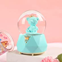 Gifts for Girls,3.14 Inch Musical Snowglobes for Girls, Birthday Christmas Festival Gift for Girls,Bear with Crown (Blue)