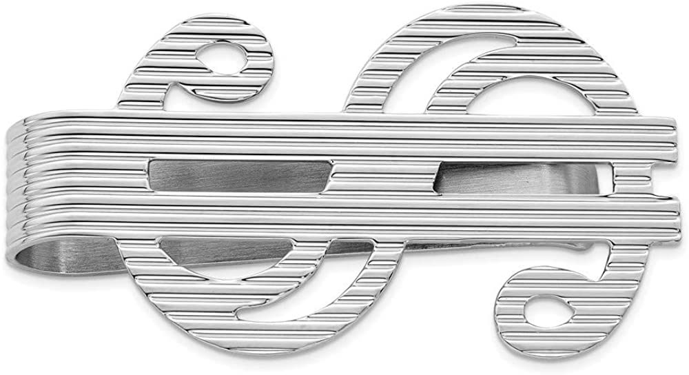 Spasm price Sterling Silver Rhodium-plated Dollar Ranking TOP17 Sign Clip 25mm Money 45mm