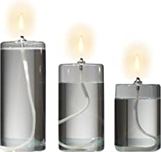 Refillable Glass Unscented Pillar Candle Gift Set of 3 - Use Alone, in a Candle Holder or Lantern - Oil Lamps Last a Lifet...